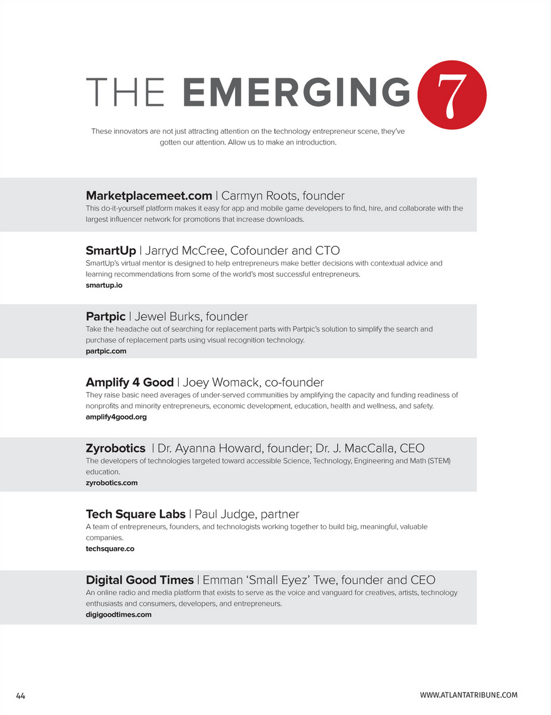 Emerging 7 of Atlanta ATribune 2015